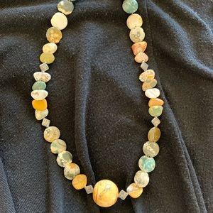 Necklace rock stone earthy colors NEW